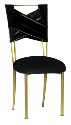 Black Velvet Sweetheart Chair Cover and Cushion on Gold Legs (2)