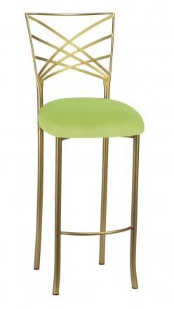 Gold Fanfare Barstool with Lime Velvet Cushion (2)