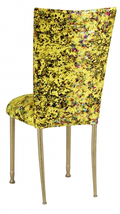 Yellow Paint Splatter Chair Cover and Cushion on Gold Legs (1)