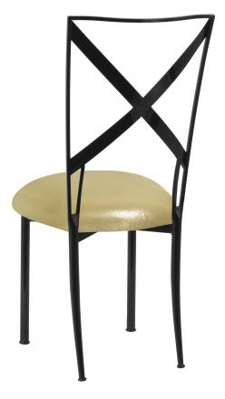 Blak. with Metallic Gold Stretch Knit Cushion (1)