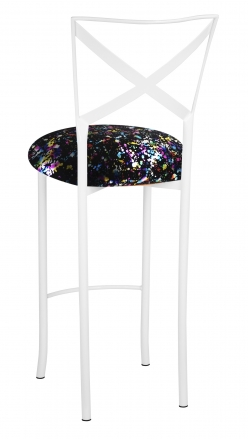 Simply X White Barstool with Black Paint Splatter Cushion (1)