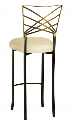 Two Tone Fanfare Barstool with Champagne Metallic Knit Cushion (1)