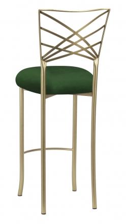Gold Fanfare Barstool with Green Velvet Cushion (1)