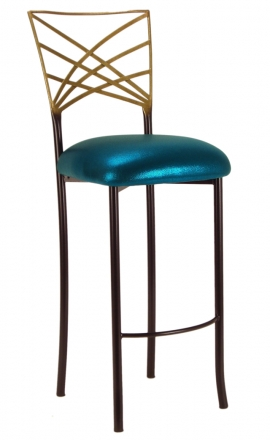 Two Tone Gold Fanfare Barstool with Metallic Teal Cushion (2)