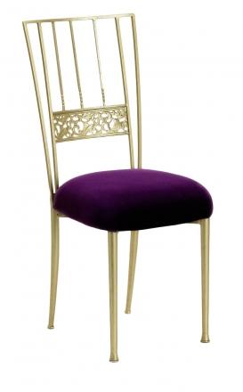 Gold Bella Fleur with Deep Purple Velvet Cushion (2)