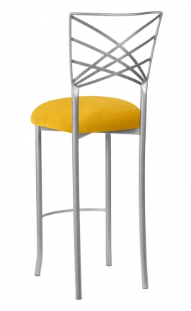 Silver Fanfare Barstool with Canary Suede Cushion (1)