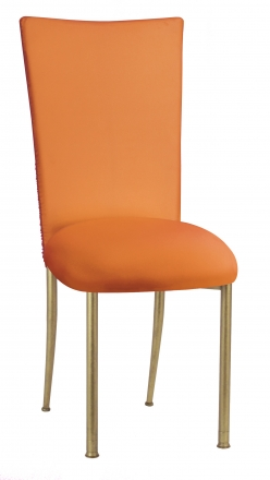 Chloe Tangerine Stretch Knit Chair Cover and Cushion on Gold Legs (2)