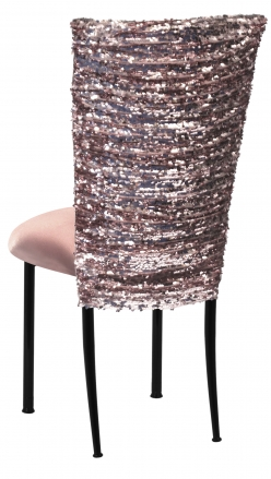 Blush Bedazzled Chair Cover and Blush Stretch Knit Cushion on Black Legs (1)