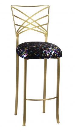 Gold Fanfare Barstool with Black Paint Splatter Knit Cushion (2)