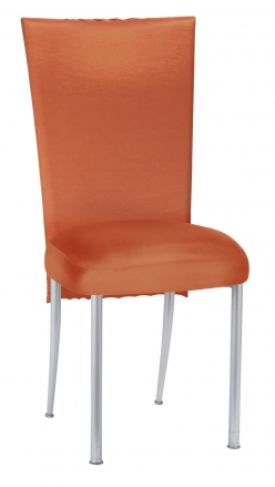 Orange Taffeta Scales 3/4 Chair Cover with Boxed Cushion on Silver Legs (2)