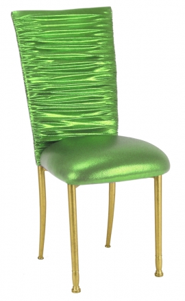 Chloe Metallic Lime Stretch Knit Chair Cover and Cushion on Gold legs (2)