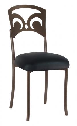 Bronze Fleur de Lis with Black Leatherette Cushion (2)