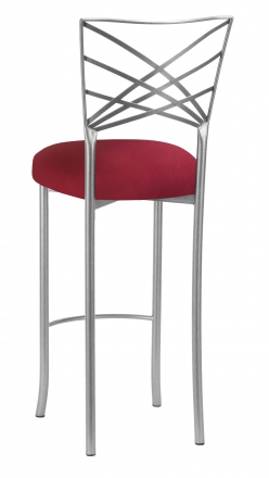 Silver Fanfare Barstool with Cranberry Stretch Knit Cushion (1)