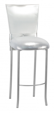 Silver Patent Barstool 3/4 Chair Cover with Rhinestone Accent Belt and Metallic Silver Stretch Knit Cushion on Silver Legs (2)