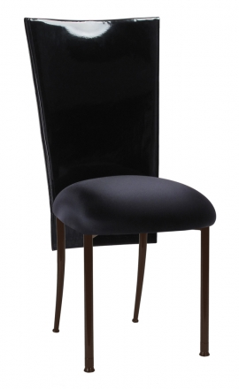 Black Patent 3/4 Chair Cover with Black Stretch Knit Cushion on Brown Legs (2)