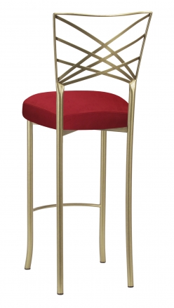 Gold Fanfare Barstool with Red Rhino Suede Boxed Cushion (1)
