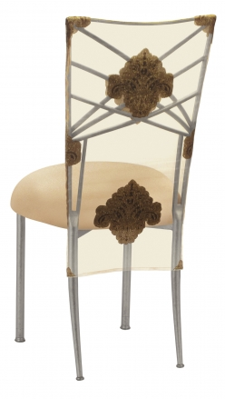 Silver Fanfare with Organza Medallion 3/4 Chair Cover and Toffee Stretch Knit Cushion (1)
