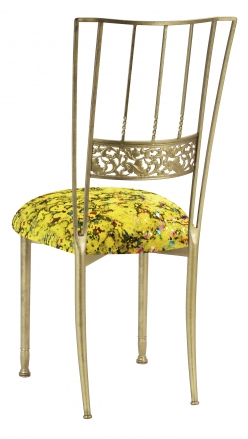 Gold Bella Fleur with Yellow Paint Splatter Knit Cushion (1)