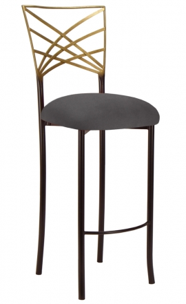 Two Tone Gold Fanfare Barstool with Charcoal Suede Cushion (2)