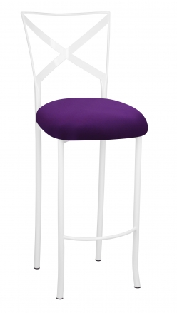 Simply X White Barstool with Plum Stretch Knit Cushion (2)