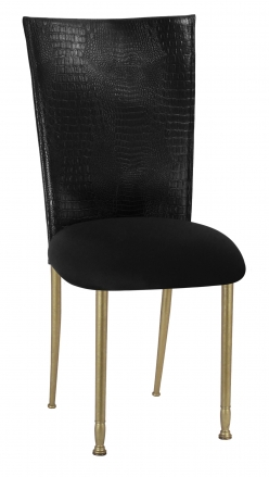 Black Croc Chair Cover with Black Stretch Knit Cushion on Gold Legs (2)