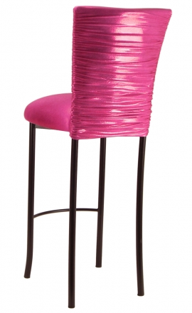 Chloe Metallic Fuchsia Stretch Knit Barstool Cover and Cushion on Brown Legs (1)