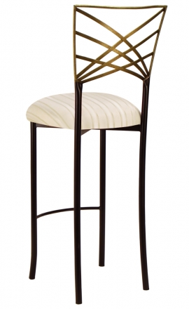 Two Tone Gold Fanfare Barstool with Ivory Sateen Stripe Cushion (1)