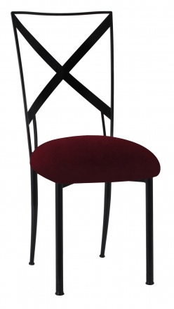 Blak. with Cranberry Velvet Cushion (2)