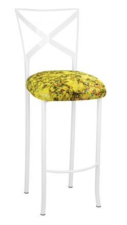 Simply X White Barstool with Yellow Paint Splatter Cushion (2)