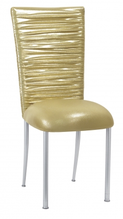 Chloe Metallic Gold Stretch Knit Chair Cover and Cushion on Silver Legs (2)