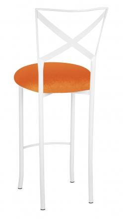 Simply X White Barstool with Orange Velvet Cushion (1)