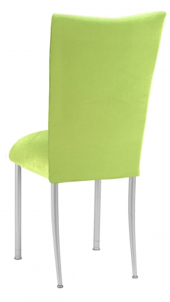 Lime Green Velvet Chair Cover and Cushion on Silver Legs (1)