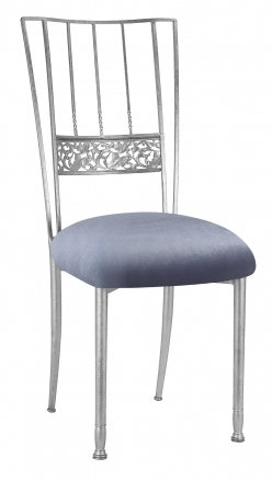 Silver Bella Fleur with Steel Velvet Cushion (2)