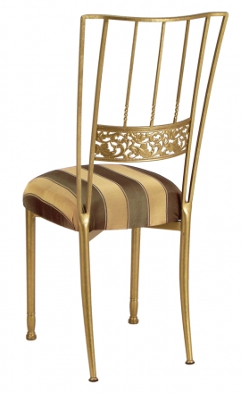 Gold Bella Fleur with Gold and Brown Stripe Cushion (1)