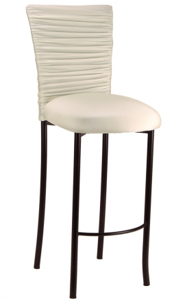 Chloe Ivory Stretch Knit Barstool Cover and Cushion on Brown Legs (2)