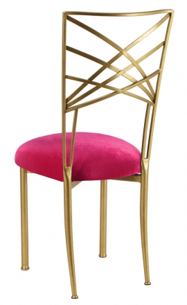 Gold Fanfare with Fuchsia Velvet Cushion (1)