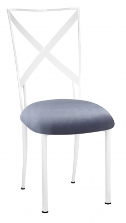 Simply X White with Steel Velvet Cushion (2)