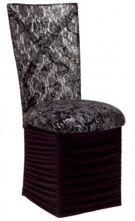 Simply X with Black Lace Chair Cover and Black Lace over Black Stretch Knit Cushion with Chloe Skirt (2)
