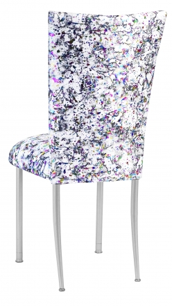 White Paint Splatter Chair Cover and Cushion on Silver Legs (1)