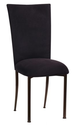 Black Suede Chair Cover and Cushion on Brown Legs (2)