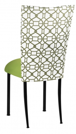 Blade Kaleidoscope Chair Cover with Lime Stretch Knit Cushion on Black Legs (1)