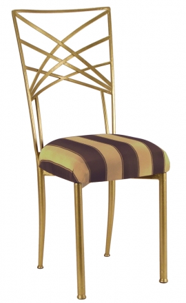 Gold Fanfare with Gold and Brown Stripe Cushion (2)