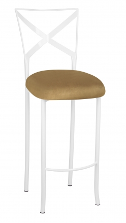 Simply X White Barstool with Camel Suede Cushion (2)