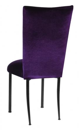 Deep Purple Velvet Chair Cover and Cushion on Black Legs (1)