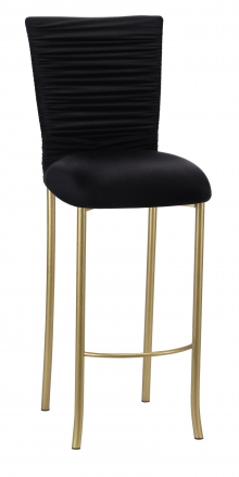 Chloe Black Stretch Knit Barstool Cover with Rhinestone Accent Band and Cushion on Gold Legs (2)