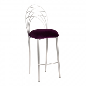 Silver Piazza Barstool with Eggplant Velvet Cushion (2)