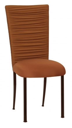 Chloe Copper Stretch Knit Chair Cover with Jewel Belt and Cushion on Brown Legs (2)
