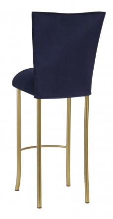 Navy Blue Suede Barstool Cover and Cushion on Gold Legs (1)