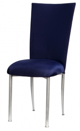 Navy Blue Chair Cover with Button Chair Cover and Cushion on Silver Legs (2)
