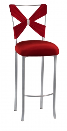 Simply X Barstool with Red Velvet Criss Cross and Rhinestone Accent (2)